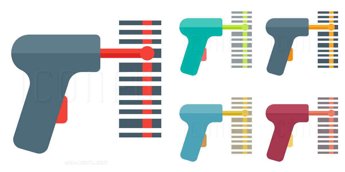 Barcode Scanner Icon Paper Collection Style