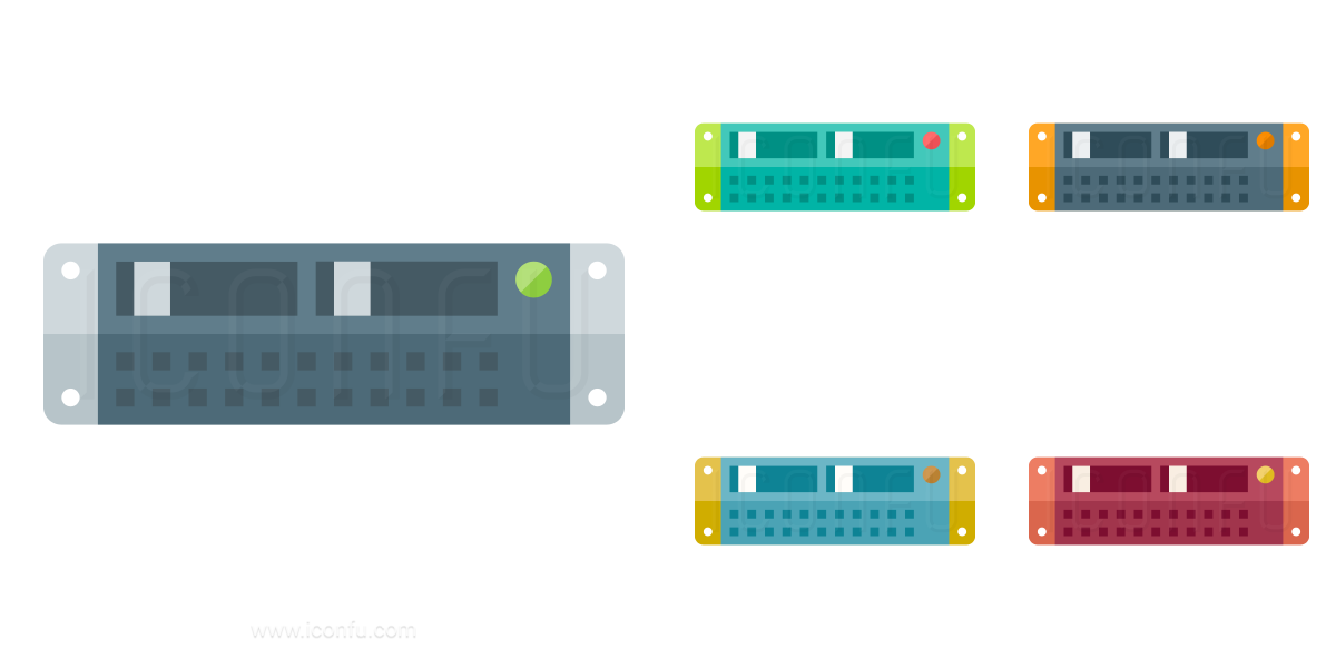 Rack Server Icon Paper Collection Style