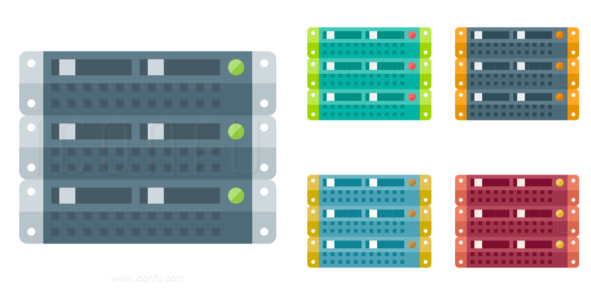 Rack Servers Icon Paper Collection Style