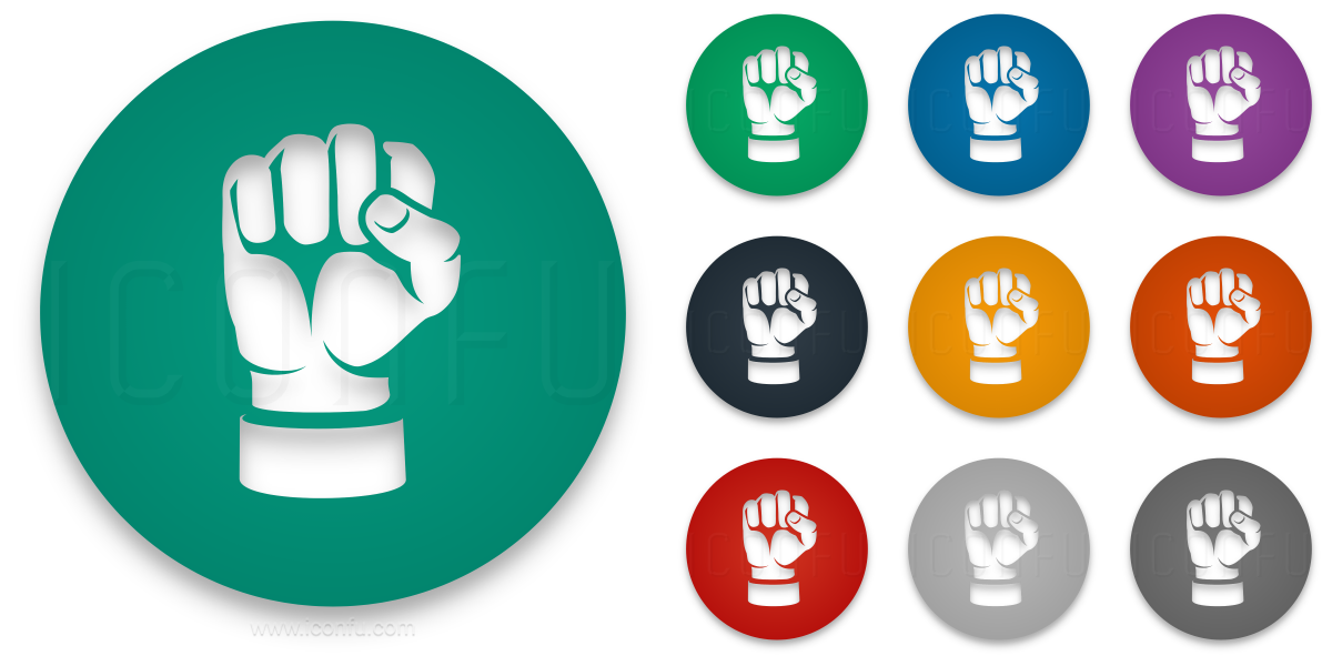 Hand Fist Icon Circle Style Iconfu