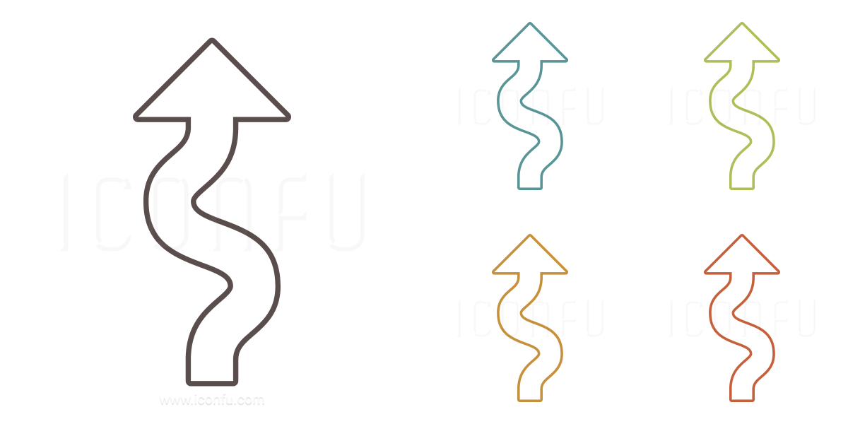arrow squiggly icon outline style iconfu