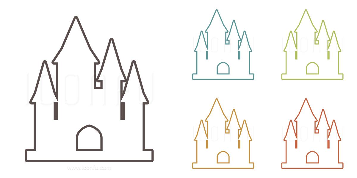 Castle Icon Outline Style Iconfu