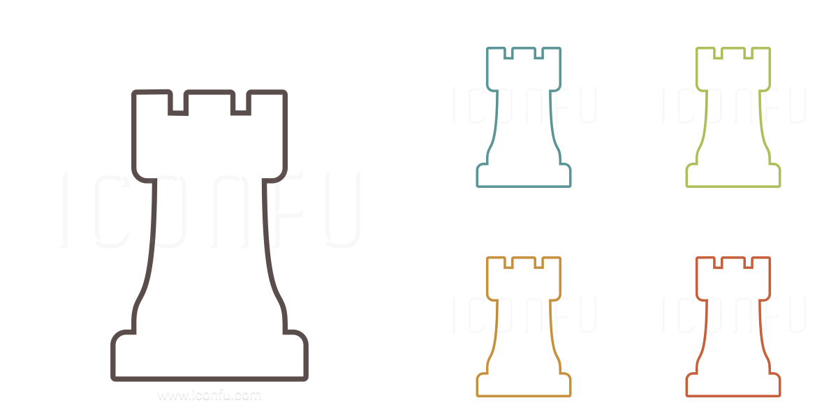 Chess Piece Rook Icon - Outline Style - Iconfu