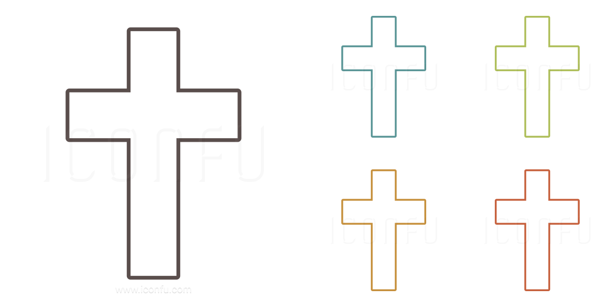 Christian Cross Icon - Outline Style - Iconfu