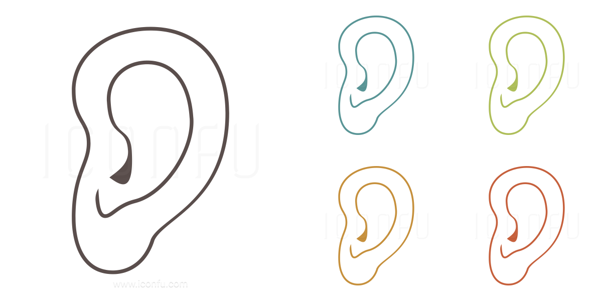 ear icon outline style iconfu