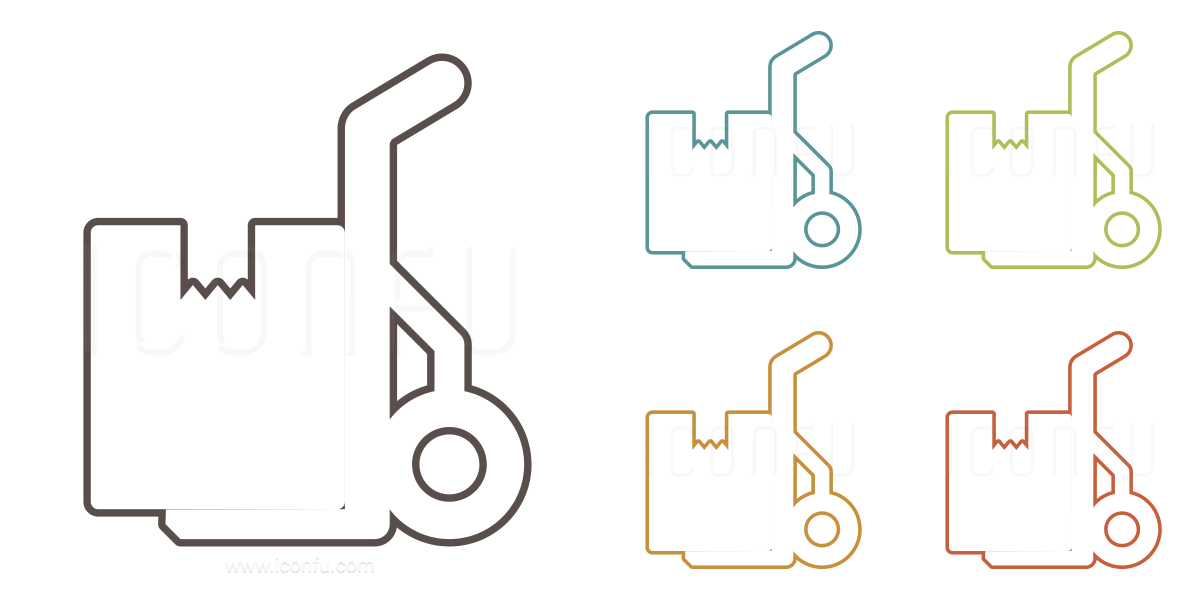 hand truck box icon  paper icon collection » outline icon style