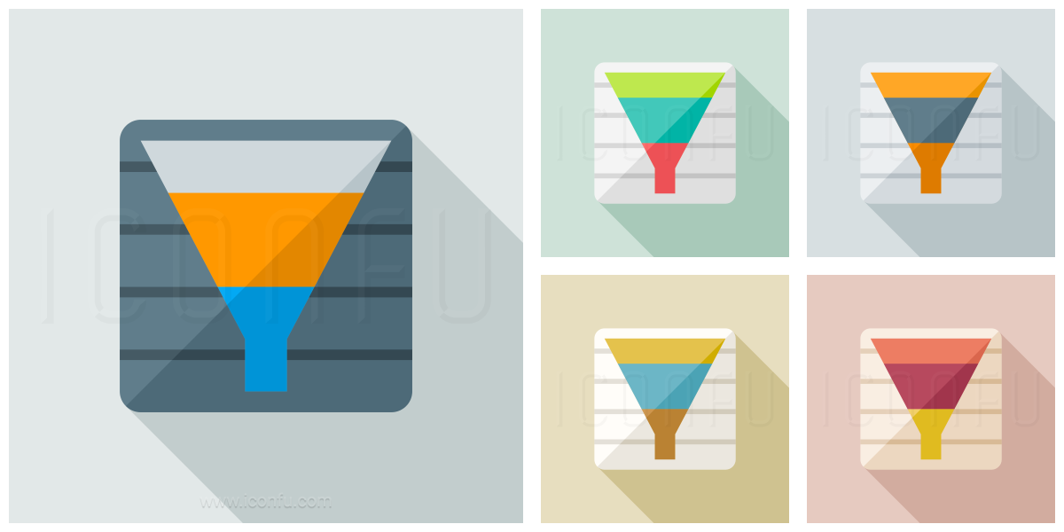 chart funnel icon  paper icon collection � long shadow icon style