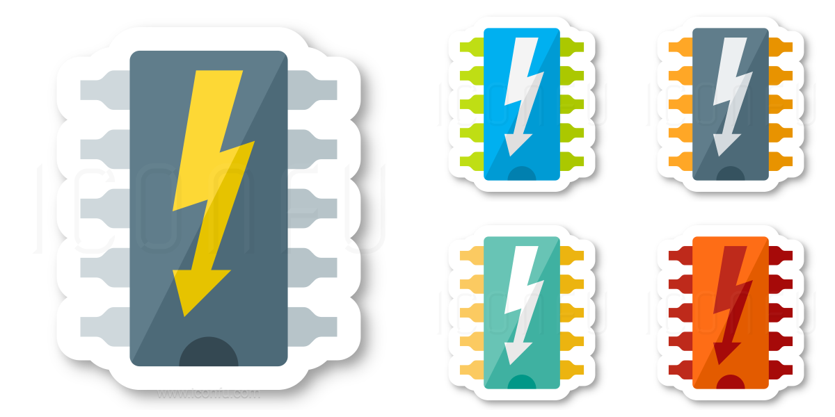 Computer Chip Dip Flash Icon