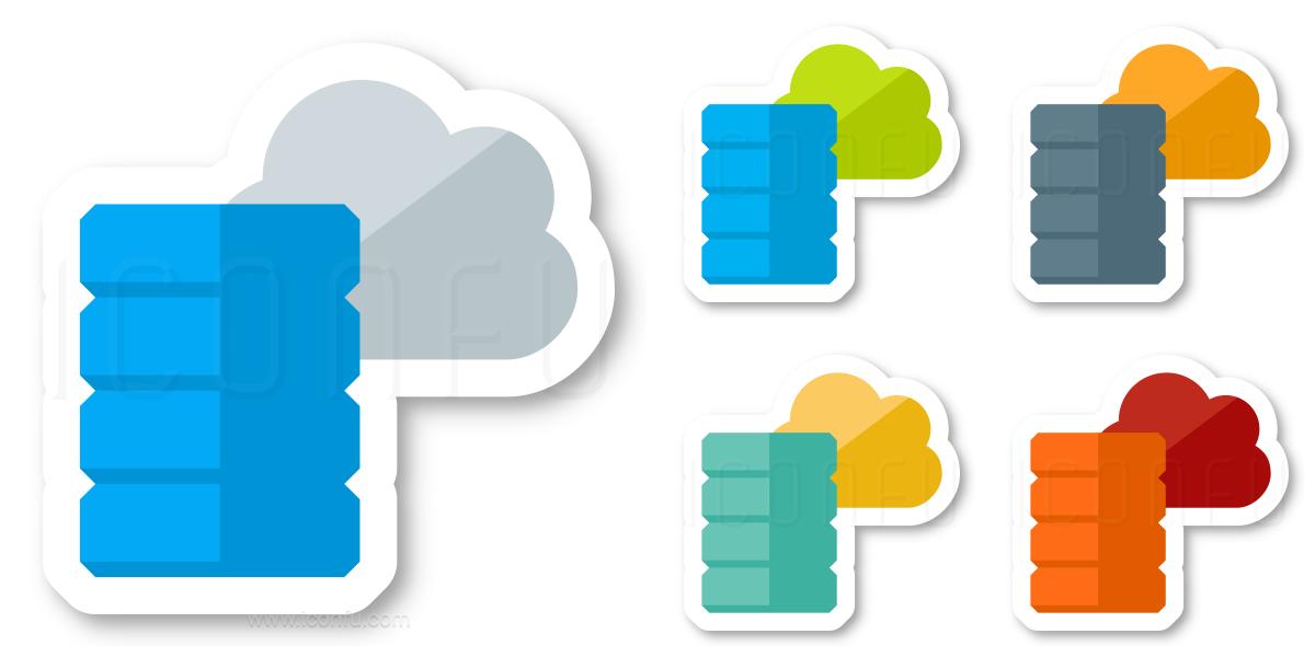 Data Cloud Icon - Sticker Style - Iconfu