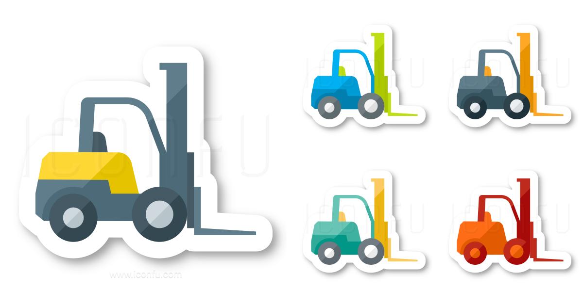 Forklift Icon - Sticker Style - Iconfu