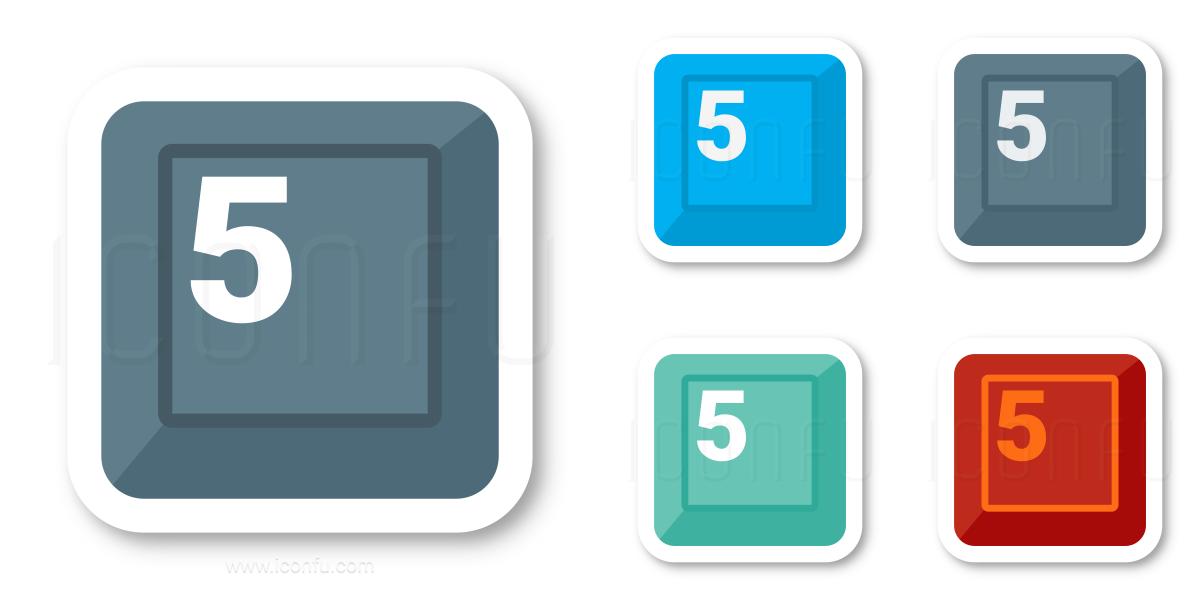 Keyboard Key 5 Icon