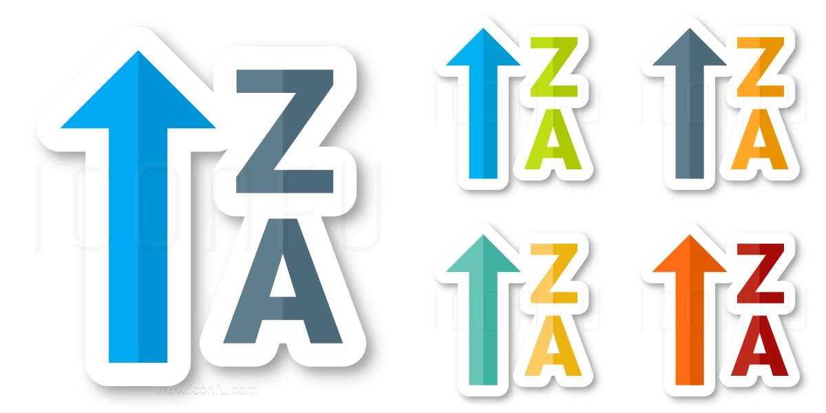 Sort Az Ascending Up Icon - Sticker Style - Iconfu