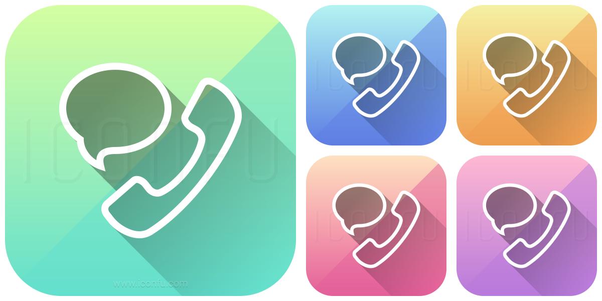 Phone Speech Bubble Icon - App Style - Iconfu