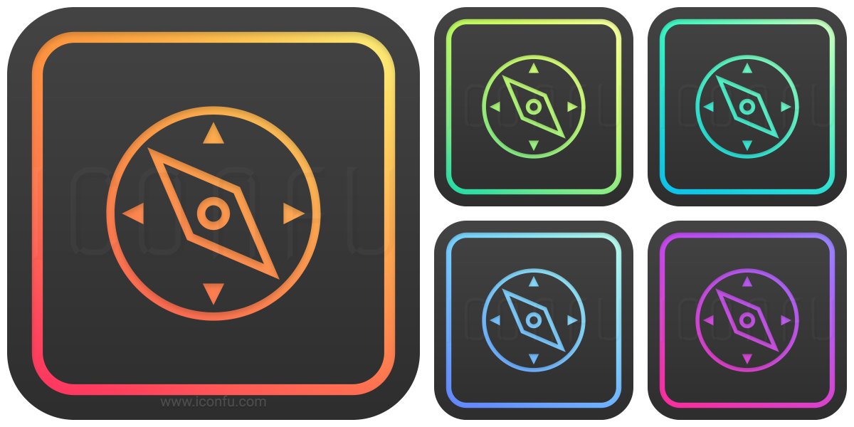 Compass Icon - Glow Style - Iconfu