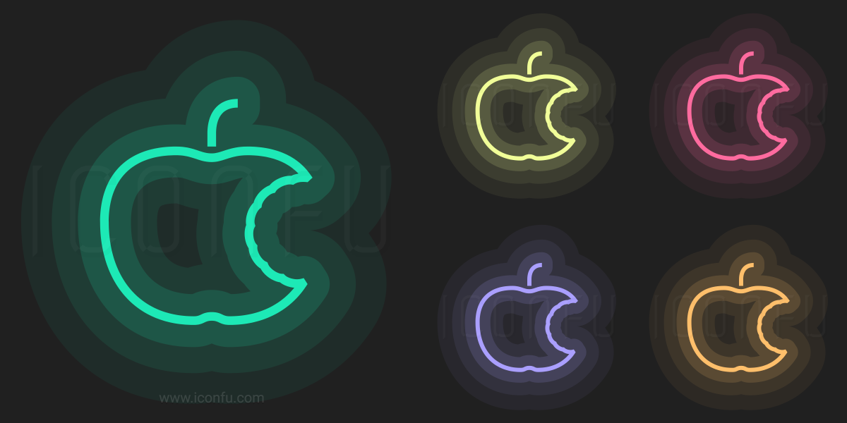 Apple Bite Icon Neon Style Iconfu
