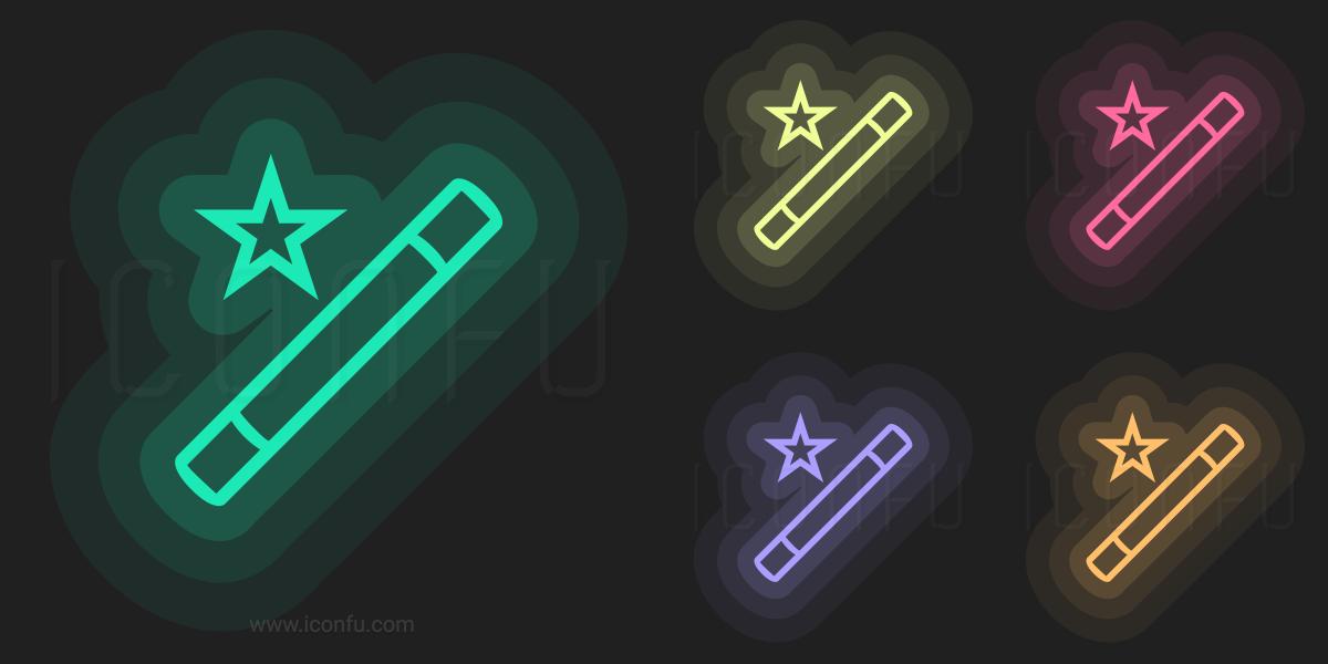 Magic Wand Icon Neon Style Iconfu