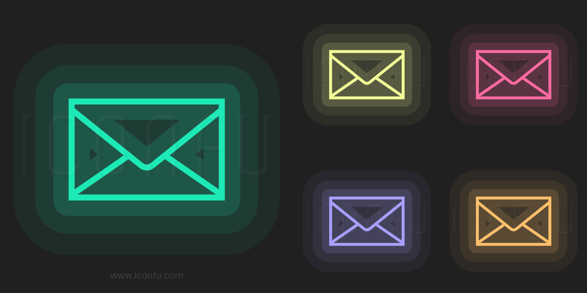 Mail Icon Neon Style Iconfu
