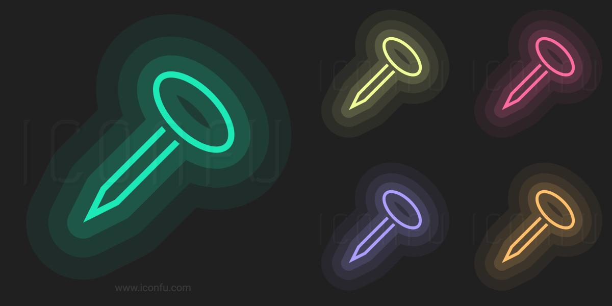 Nail Icon - Neon Style - Iconfu
