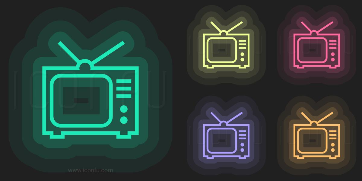 Tv Icon - Neon Style - Iconfu