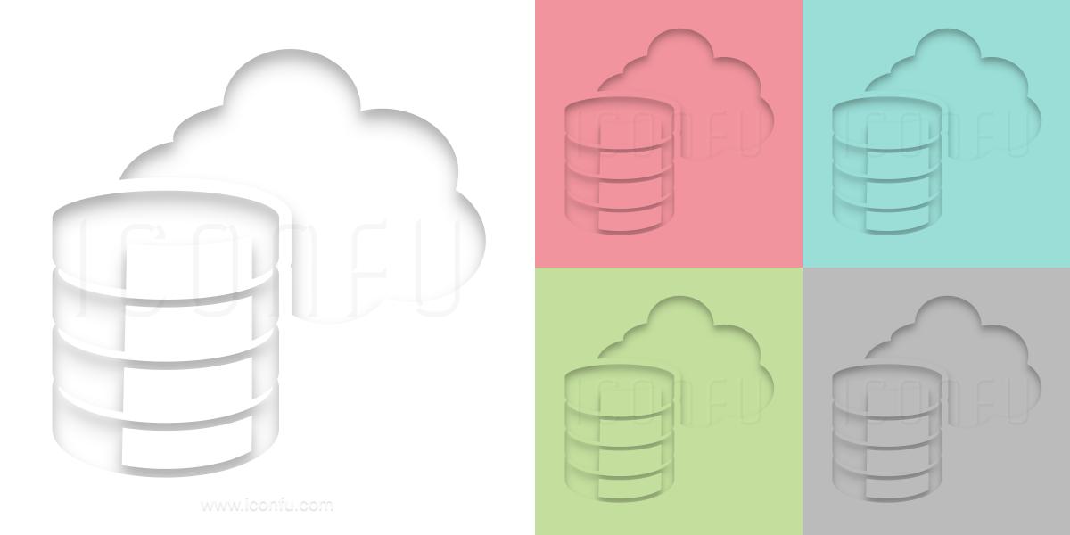 Data Cloud Icon - Inner Shadow Style - Iconfu