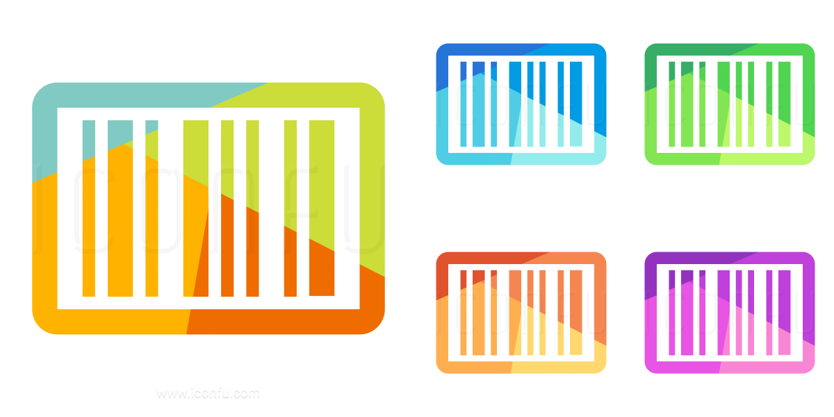 Barcode colorful. Icon colored style iconfu