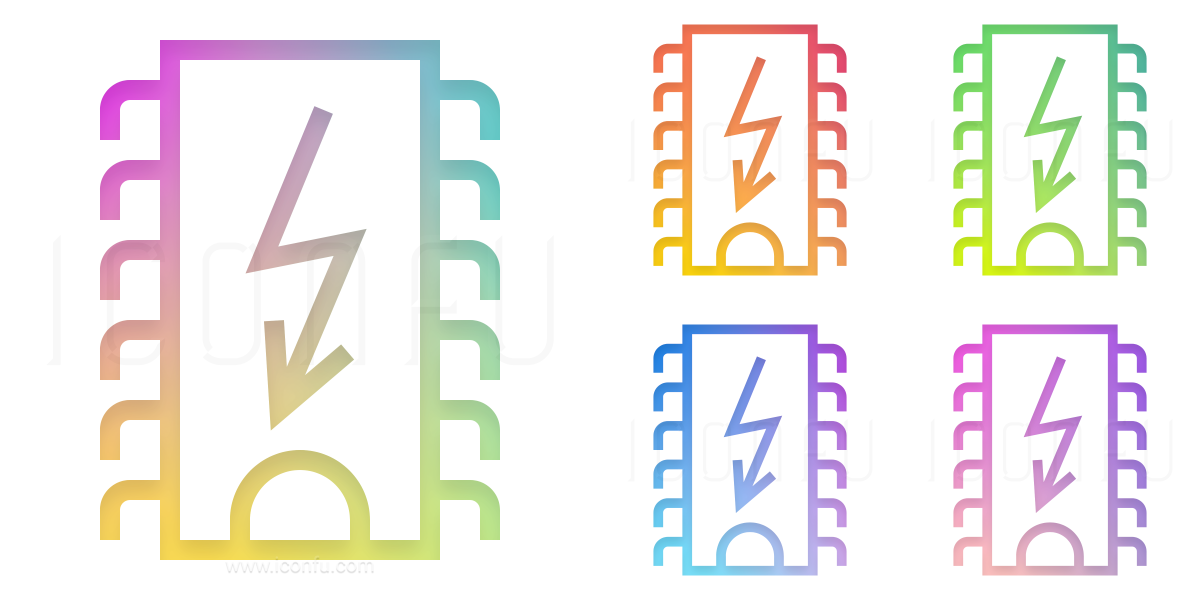 Computer Chip Dip Flash Icon
