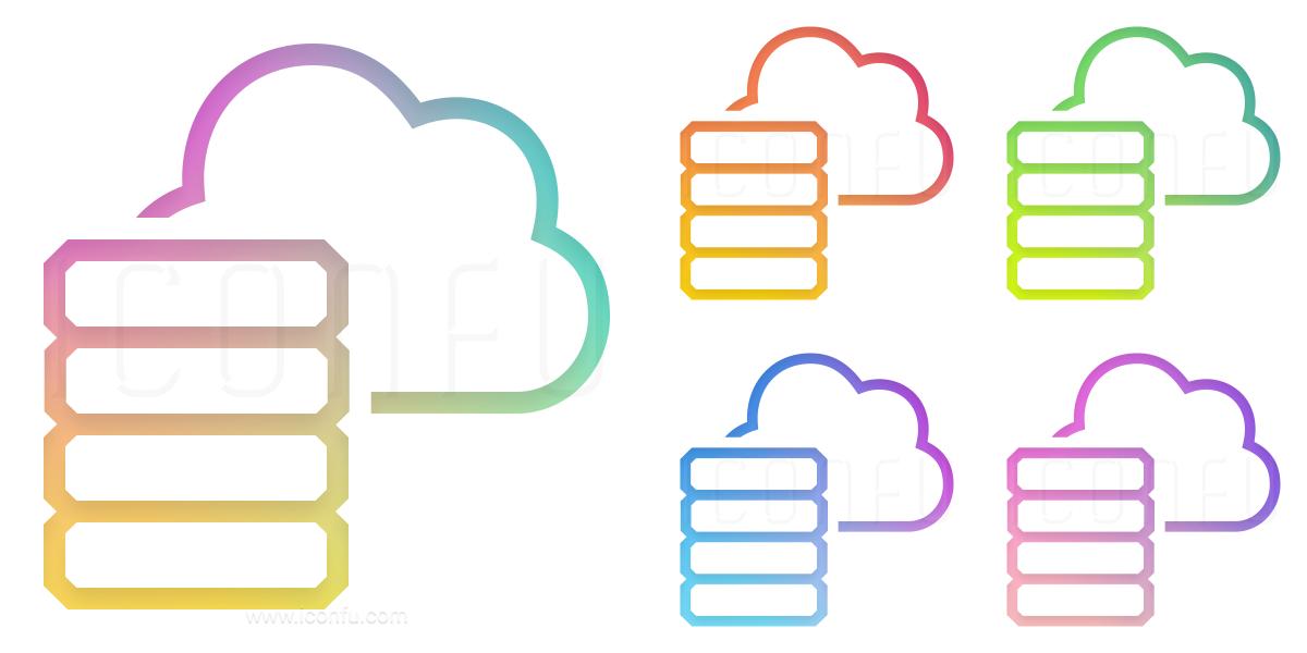 Data Cloud Icon - Gradient Color Style - Iconfu