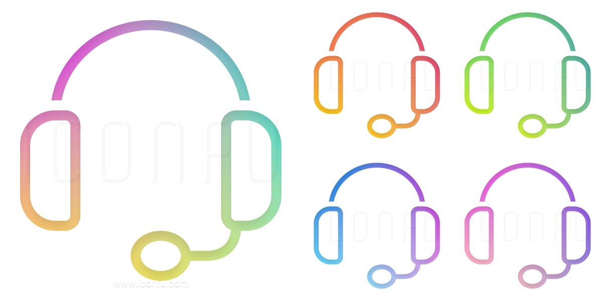 Headset Icon Gradient Color Style Iconfu