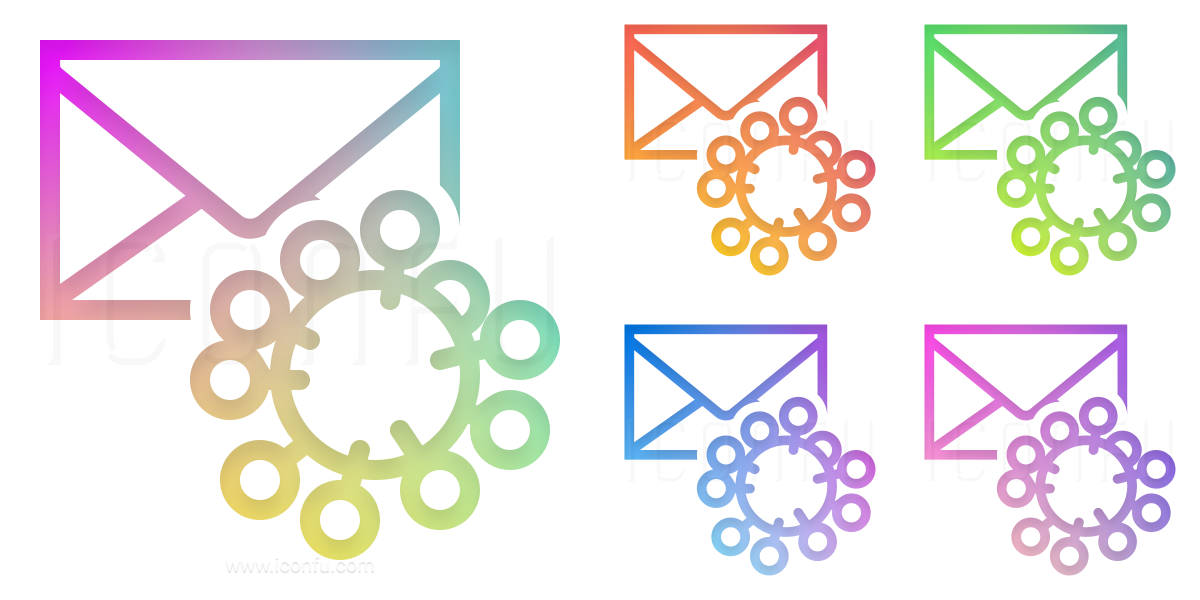 Mail Virus Icon - Gradient Color Style - Iconfu