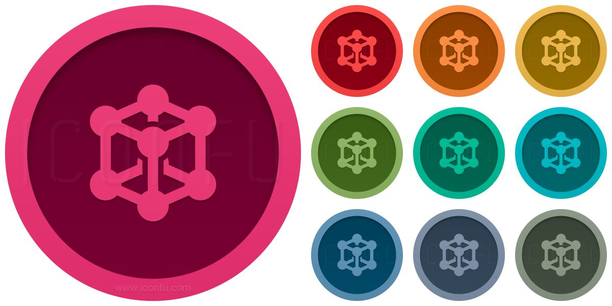 Cube Molecule Isometric Icon