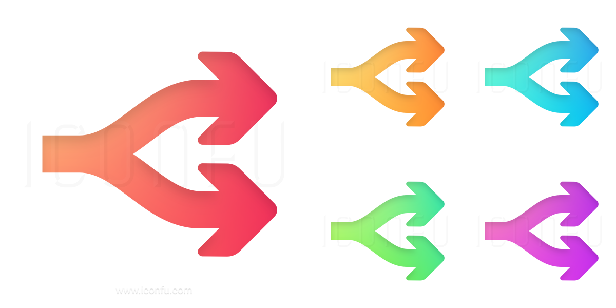 Arrows Fork Two Icon