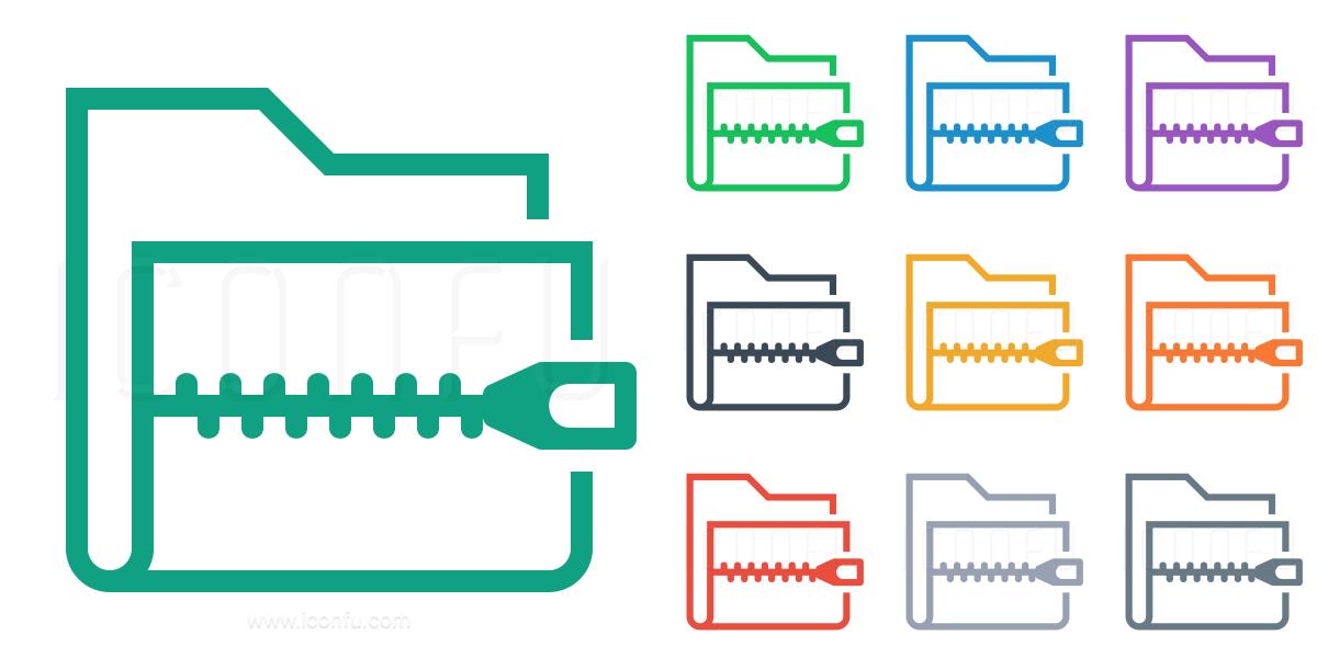 Folder Zip Icon - Line Style - Iconfu